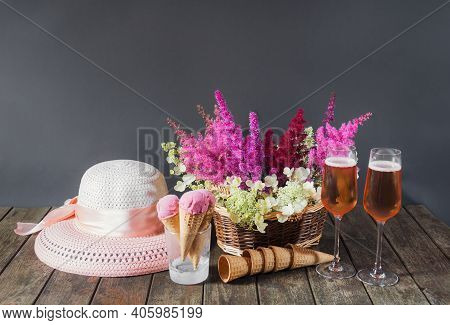 Beautiful Astilbe And Hydrangea Flowers, Glasses Of Rose Champagne, Summer Hat, Cherry Ice Cream And