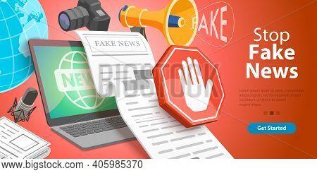 3d Isometric Vector Conceptual Illustration. Stop Lies, Propaganda And Fake News