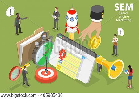 3d Isometric Vector Conceptual Illustration Of Sem - Search Engine Marketing.