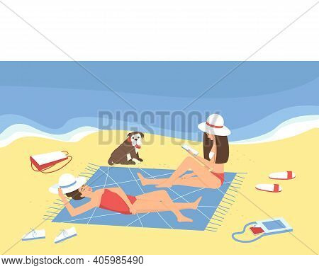 Mom And Her Adult Daughter Are Relaxing On The Beach By The Sea. Girlfriends Sunbathe By The Sea. Th