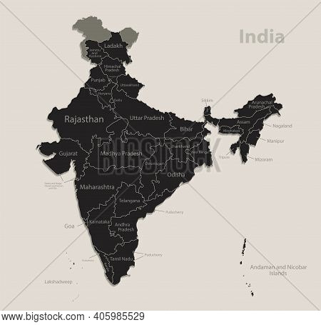 Black Map Of India With Names Of Regions, Design Blackboard Vector