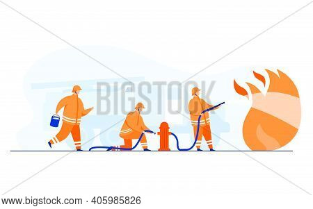 Brave Firefighters Firefighting With Flame Flat Vector Illustration. Cartoon Firemen Wearing Uniform