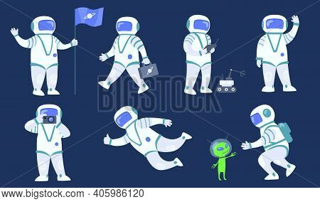 Cartoon Spaceman Flat Icon Set. Space Explorer, Cosmonaut Or Astronaut In Spacesuit Flying And Walki
