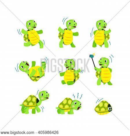 Cute Little Turtle Flat Icon Set. Cartoon Smiling Animal Character Dancing, Walking And Having Fun I