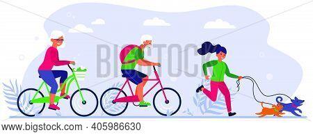 Diverse Active People Enjoying Activities In Park. Senior Couple Riding Bikes, Person Walking Dog Fl