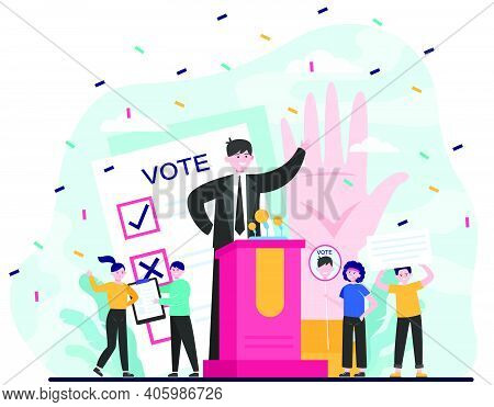 Election And Political Campaign. Politician Speaker, Candidate, Voting Citizens, Ballot Paper. Flat