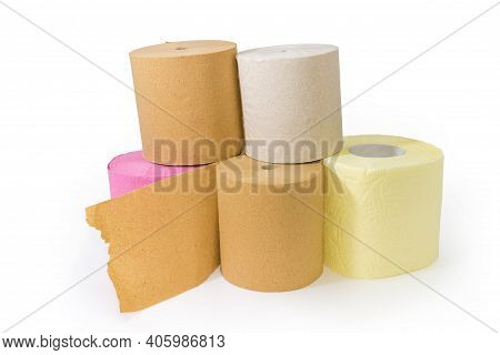 Stack Of Rolls Of Inexpensive Toilet Paper Made With Undyed Unbleached Crepe Paper And Quality Color