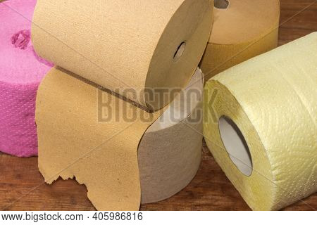Rolls Of Inexpensive Toilet Paper Made With Undyed Unbleached Crepe Paper And Quality Colored Multil