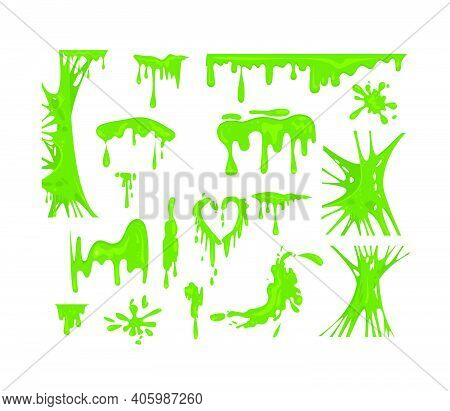 Green Slime Flat Icon Set. Goo Blob Splashes And Toxic Dripping Mucus Isolated Vector Illustration C