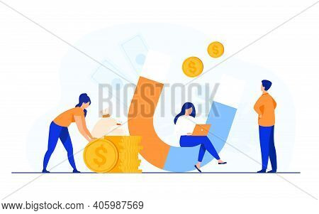Income And Money Attraction. People With Magnet Getting Cash. Vector Illustration For Fast Loan, Inc