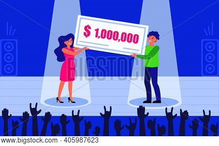 Lottery Prize Winner. Happy Cheerful Man And Woman Holding Big Bank Check Flat Vector Illustration.
