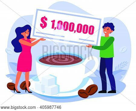 Man And Woman Holding Million Bill Over Coffee Cup. People Starting Coffee Business Flat Vector Illu