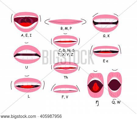 Mouth Sync Flat Icon Set. Lips For Cartoon Character Animation Or English Pronunciation Signs Isolat
