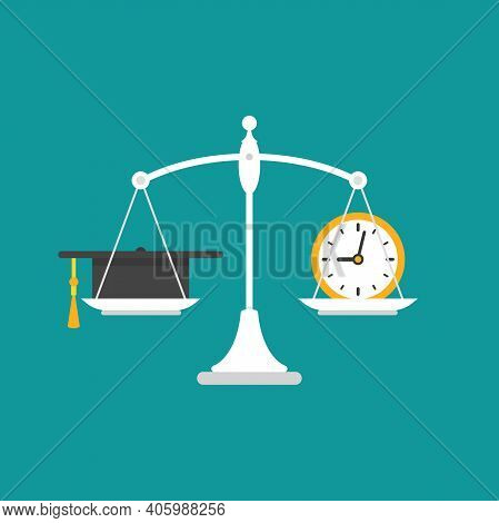 White Mechanical Scales With Clock And Mortar Board In Pans. Education Value, Study Time Expenses Ba