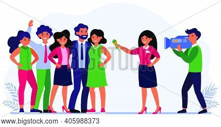 Reporter Interviewing Celebrities Or Successful People. Team, Journalist, Cameraman Flat Vector Illu
