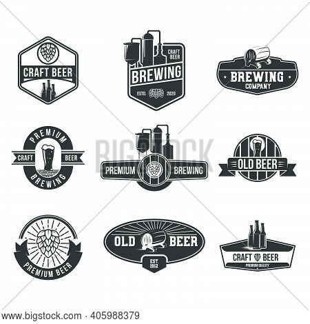 Retro Beer Flat Badges Set. Craft, Brewing, Premium, Old Beer Logos And Emblems For Pub, Isolated Ve
