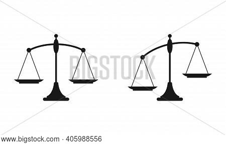 Black Mechanical Scales Balance Icon Set Isolated On White. Justice, Law Scale. Vector Illustration.