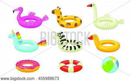 Swimming Rings Flat Icon Set. Cartoon Rubber Floating Lifesaver In Form Of Donuts, Flamingo, Duck Or