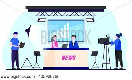 Tv News Show. Stage And Backstage Of Studio Filming With Newscasters And Camera Crew. Vector Illustr