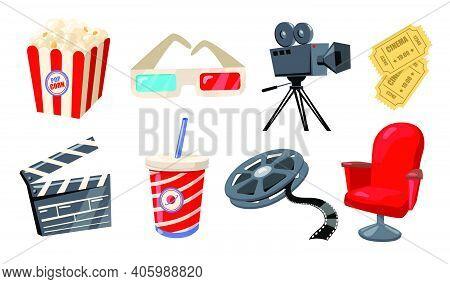 Various Cinema, Theater And Movie Elements Flat Icon Set. Cartoon Retro Film Camera, Popcorn, 3d Gla