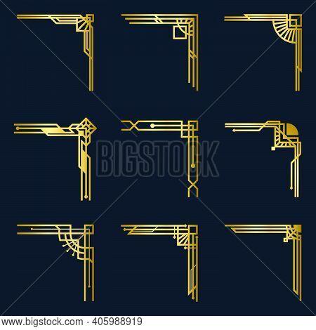 Various Vintage Gold Corners Set. Art Deco Decorative Borders And Antique Filigree Design Elements I