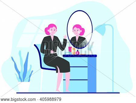 Woman Applying Cream To Face Skin At Mirror. Lady Practicing Skincare Routine In Her Bathroom. Vecto