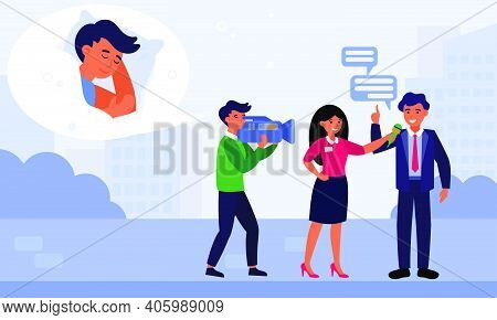 Woman Reporter Interviewing Businessman In Morning. Cameraman Thinking About Sleeping Flat Vector Il
