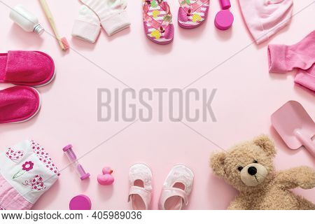 Baby Girl Accesories On Pink Background, Baby Shower Concept