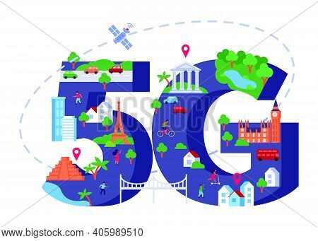 5g Speed Internet Isolated Flat Vector Illustration. Tiny People Travelling And Using Wireless Netwo
