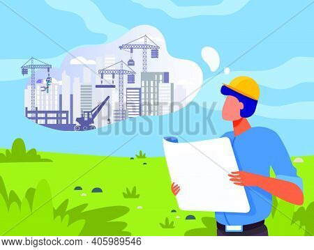 Architect With Blueprint Planning Construction On Lawn. Landscape, Building Work In Though Bubble Fl