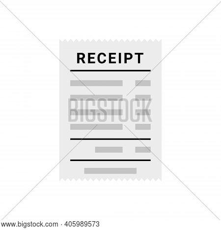 Receipt Document Icon. Digital Vector Bill Sale Fee. Flat Vector Receipt Order