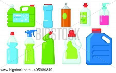 Bleach Bottles Set. Plastic Containers Of Detergents, Liquid Soap, Chemical Disinfectant. Vector Ill