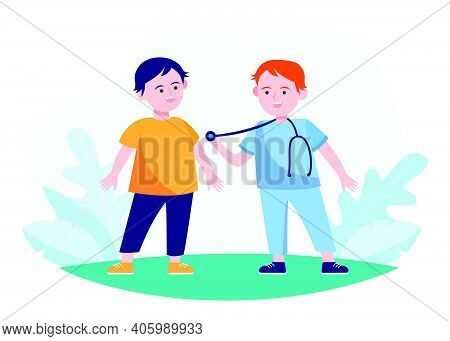Boys Acting Doctor And Patient. Children Playing Outdoors Flat Vector Illustration. Role Play, Child