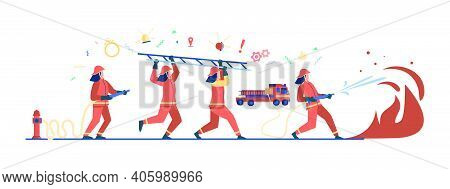Brave Firefighters Wearing Uniform And Helmets Firefighting Isolated Flat Vector Illustration.