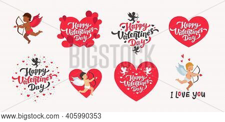 Happy Valentines Day Vector Set. Love Day Quotes And Lettering With Hearts And Cupids White Backgrou