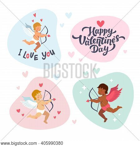 Cupids And Angels With Bows And Arrows. Vector Set Of Cute Cupids For Valentines Day. Cartoon Flat S