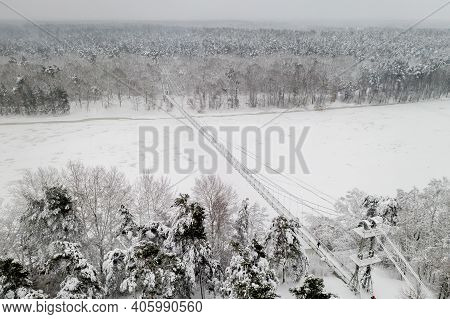 Snow-covered River And Bridge Top View From The Throne.