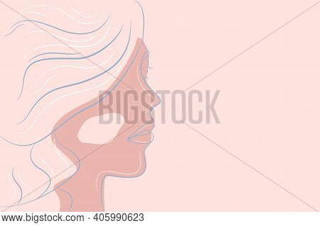 Linear Portrait Of A Woman With Thick Hair In Profile. Modern Abstract Portrait In Color. Vector Ill