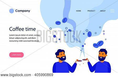 Cheerful Men Drinking Aromatic Black Coffee. Americano, Cup, Mug, Steaming Cloud Flat Vector Illustr