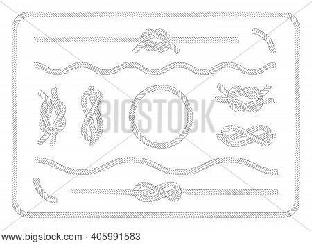 Collection Of Sailor Knots Set. Various Nautical Ropes And Knots, Circle, Border, Wavy String. Vinta