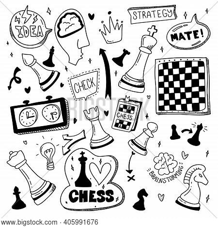 Doodle Set Chess. Cartoon Illustration About Check And Mate. Strategy Concept. Vector Illustration