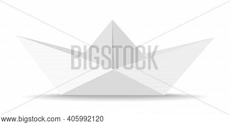 Origami Paper Boat Isolated On White Background Vector Illustration