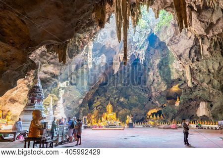 Petchaburi, Thailand - January 23, 2019: Thum Khao Luang, The Most Popular Cave Of Buddhist Place, W