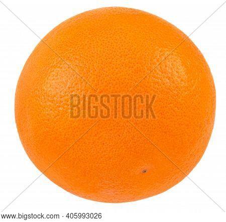 Ripe Orange Fruit  Isolated On White Background. Fresh Whole Orange Close-up