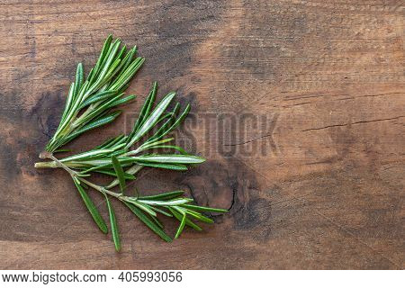 Fresh Rosemary Herb On Wooden  Background. Top View Rosemary With  Copy Space.