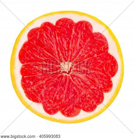 Grapefruit Half Isolated On White Background Close Up. Ripe Slice Of Pink Grapefruit Citrus Fruit  F