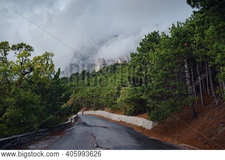 Asphalt Road In Mounts. Road To The Mountains.