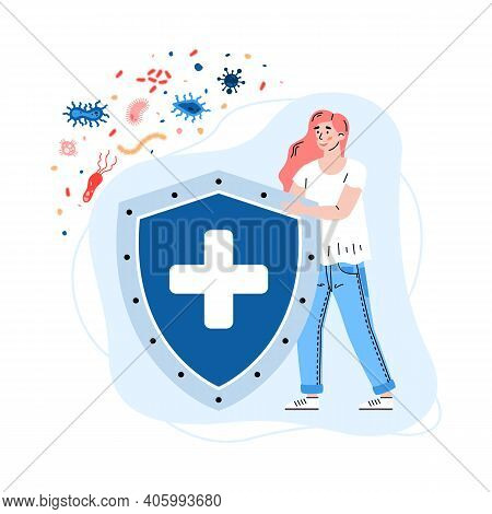 Woman With Huge Shield Reflecting Virus Attack, Cartoon Vector Illustration Isolated On White Backgr