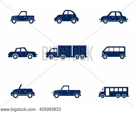 Flat Cars Set. Taxi And Minivan, Cabriolet And Pickup. Car Icons Set.