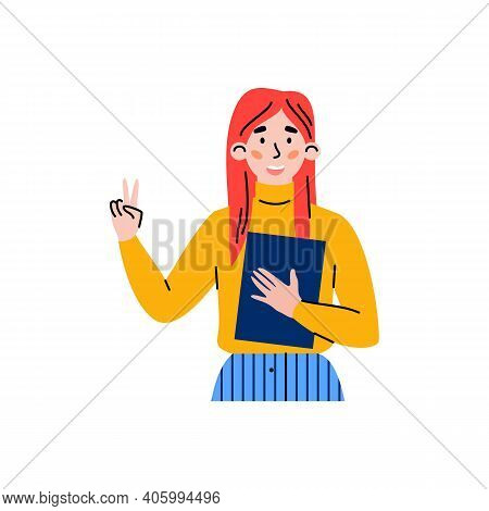 Portrait Of Positive Female Character Gesturing Of Victory Sign. Young Attractive Happy Woman Showin